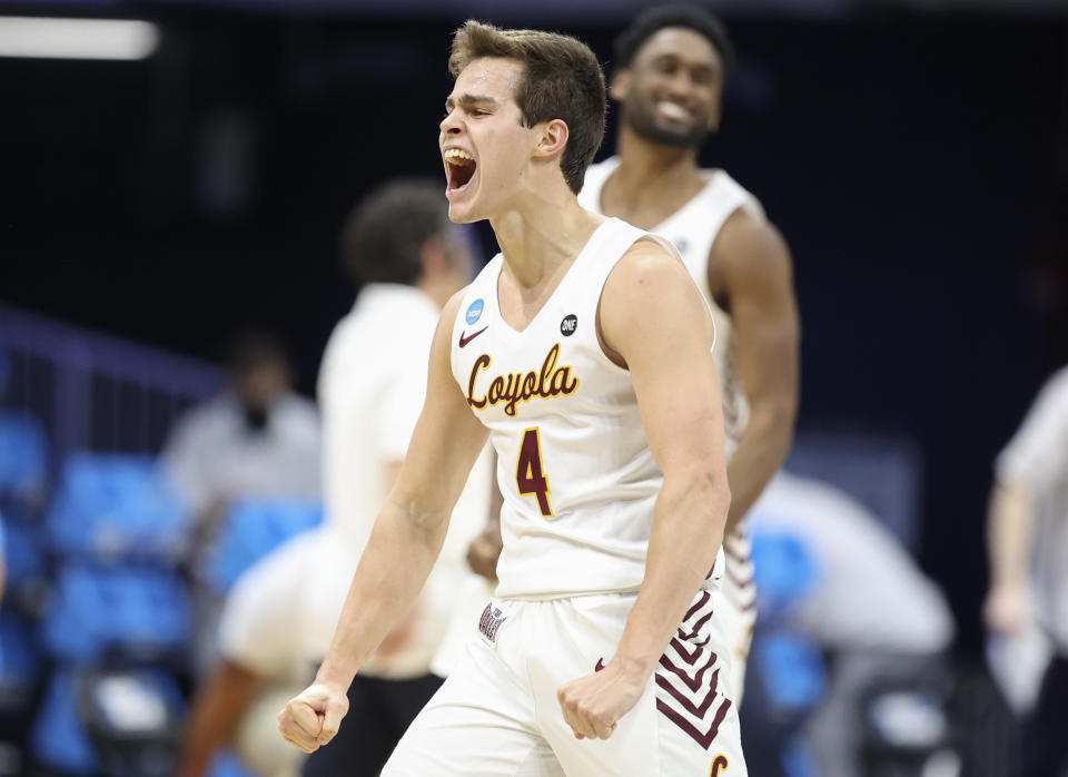INDIANAPOLIS, INDIANA - MARCH 19: Braden Norris #4 of the Loyola (Il) Ramblers reacts during the first half against the Georgia Tech Yellow Jackets in the first round game of the 2021 NCAA Men's Basketball Tournament at Hinkle Fieldhouse on March 19, 2021 in Indianapolis, Indiana. (Photo by Andy Lyons/Getty Images)