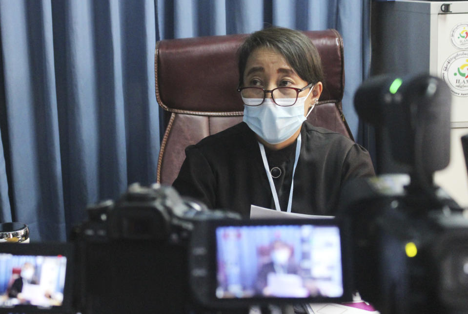 Min Min Soe, a lawyer on the defense team representing deposed Myanmar leader Aung San Suu Kyi, speaks to journalists during a press briefingin Naypyitaw, Myanmar, Tuesday, July 6, 2021.Lawyers for ousted Myanmar leader Aung San Suu Kyi argued strongly against the introduction of prosecution evidence against her on a charge of sedition, saying it did not follow established judicial procedures. Suu Kyi is currently being tried on several charges, with sedition carrying a penalty of up to two years' imprisonment. (AP Photo)