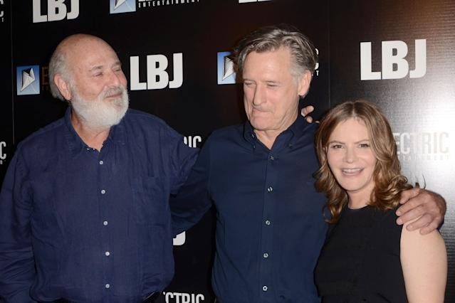 Rob Reiner with <em>LBJ</em> co-stars Bill Pullman and Jennifer Jason Leigh. (Photo: Priscilla Grant/Everett Collection)