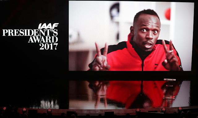 Athletics - IAAF Athletics Awards - Grimaldi Forum, Monaco - November 24, 2017 Jamaica's Usain Bolt wins an award but is unable to attend. A picture of him is displayed in his place REUTERS/Eric Gaillard