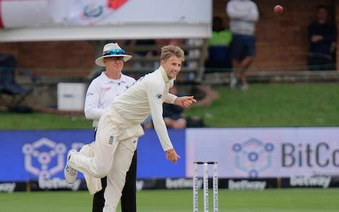 England's Joe Root bowls a ball during day two of the third cricket test between South Africa and England in Port Elizabeth, South Africa, Saturday, Jan. 18, 2020 - Credit: AP