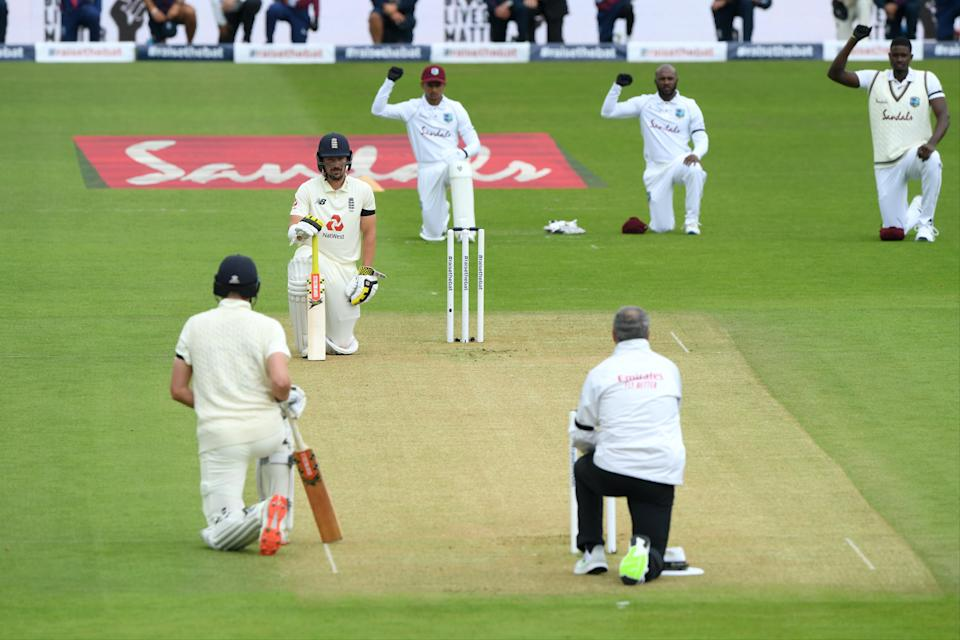 England and West Indies players take the knee before the first Test of their series this summerGetty Images for ECB