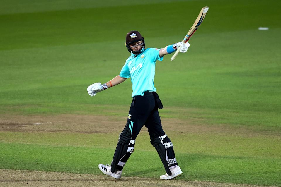 Ollie Pope celebrates a Blast fifty for Surrey (Getty Images for Surrey CCC)