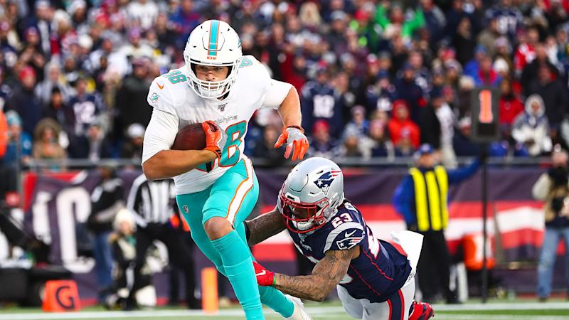 Mike Gesicki has high-end potential at his position. (Photo by Adam Glanzman/Getty Images)