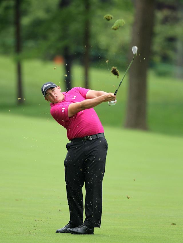 DUBLIN, OH - JUNE 01: Scott Stallings hits his second shot on the par 4 14th hole during the second round of the Memorial Tournament presented by Nationwide Insurance on June 1, 2012 in Dublin, Ohio. (Photo by Andy Lyons/Getty Images)
