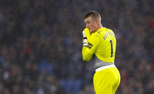 Jordan Pickford looks dejected at the end of the game (Gareth Fuller/PA)