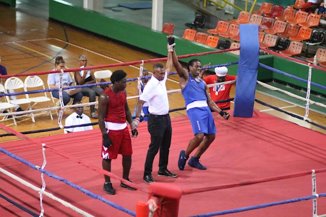 Cam F. Awesome (R) celebrates after his win over Joseph Beckles on Nov. 3, 2019 at the Jean Pierre Complex in Port-of-Spain, Trinidad. (Photo courtesy of Cam F. Awesome)