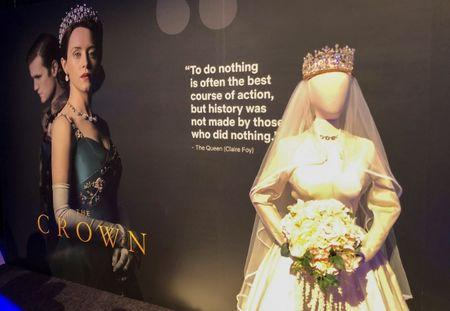 "Netflix displays a costume from ""The Crown"" series at an exhibition promoting the company's shows for Emmy consideration in Los Angeles"