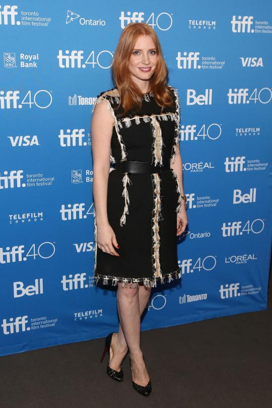 "<p>Jessica Chastain, who plays an astronaut in ""The Martian,"" displayed down to earth style in a black Lanvin dress. From the Fall 2015 collection, the LBD's covered in indeterminate animal hair.</p>"