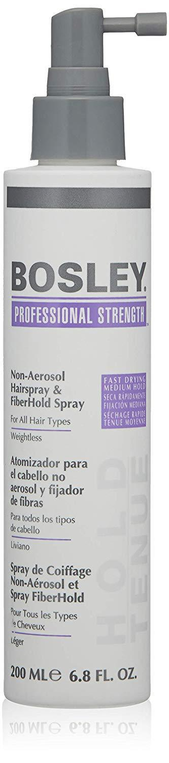 """<h3>Bosley Professional Strength Non-Aerosol and Fiberhold Hairspray</h3><br><br>This hairspray locks in any style and offers UV and color protection for healthy hair.<br><br><strong>Bosley</strong> Professional Non-Aerosol & Fiberhold Hairspray, $, available at <a href=""""https://amzn.to/3loeIii"""" rel=""""nofollow noopener"""" target=""""_blank"""" data-ylk=""""slk:Amazon"""" class=""""link rapid-noclick-resp"""">Amazon</a>"""