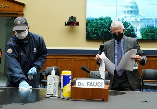 """National Institute for Allergy and Infectious Diseases director Anthony Fauci (right) warned Congress that """"disturbing"""" spikes in new coronavirus infections were hitting several US states"""