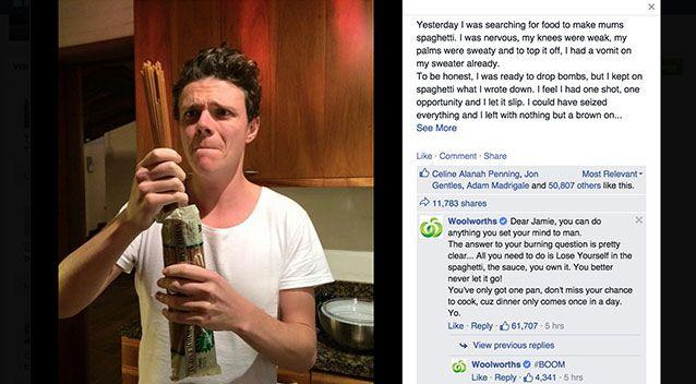A screenshot of Jamie and Woolworths' rap battle. Photo: Facebook