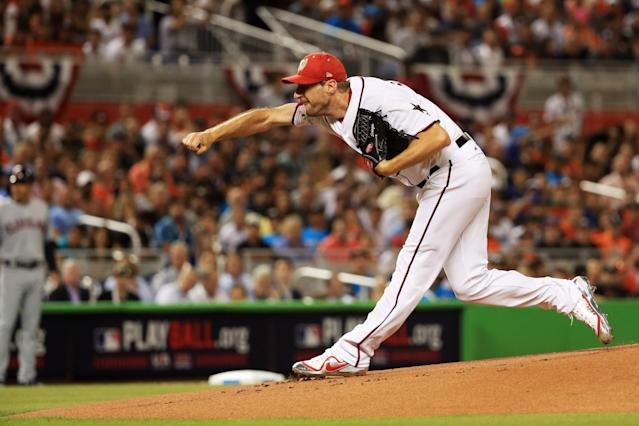 <p>Max Scherzer #31 of the Washington Nationals and the National League throws a pitch in the first inning during the 88th MLB All-Star Game at Marlins Park on July 11, 2017 in Miami, Florida. (Photo by Mike Ehrmann/Getty Images) </p>