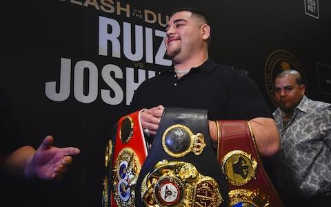 <span>Mexican-American heavyweight boxing champion Andy Ruiz Jr arrives for a press conference in the Saudi capital </span> <span>Credit: AFP </span>