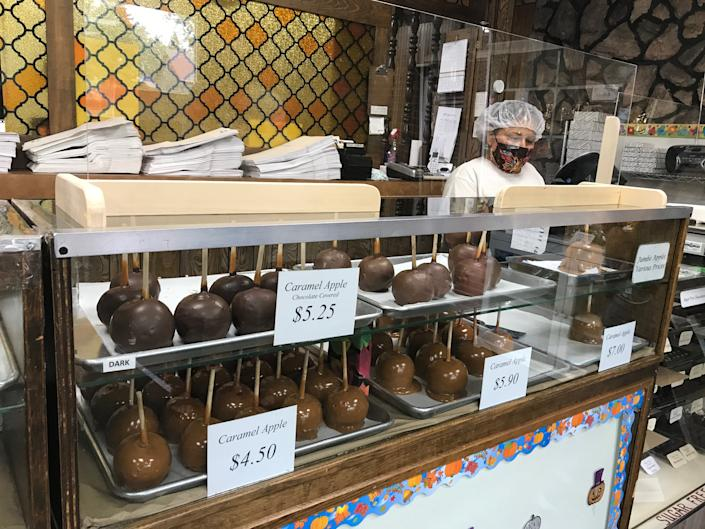 Dan's Candies on Joliet's Plainfield Road sold more than 66,000 hand-dipped apples in 2019. Image via John Ferak/Patch