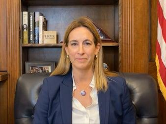 <p>Mikie Sherrill made the claims during a Facebook live video on Tuesday</p> (Facebook/ Mikie Sherrill)