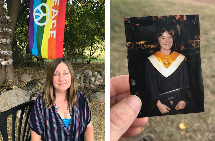 Diane Keller, left, and a photo of her daughter Toni, who was murdered in 2010. (Photo: Beth Greenfield for Yahoo Lifestyle)