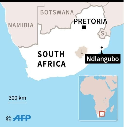 Map of South Africa locating Ndlangubo, where a church collapsed on April 18