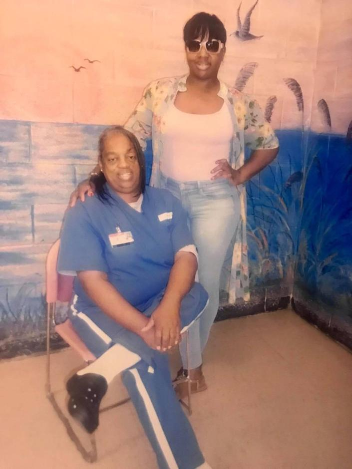 Jemena Taylor with her mother, Gloria, an inmate at Homestead Correctional Institution.