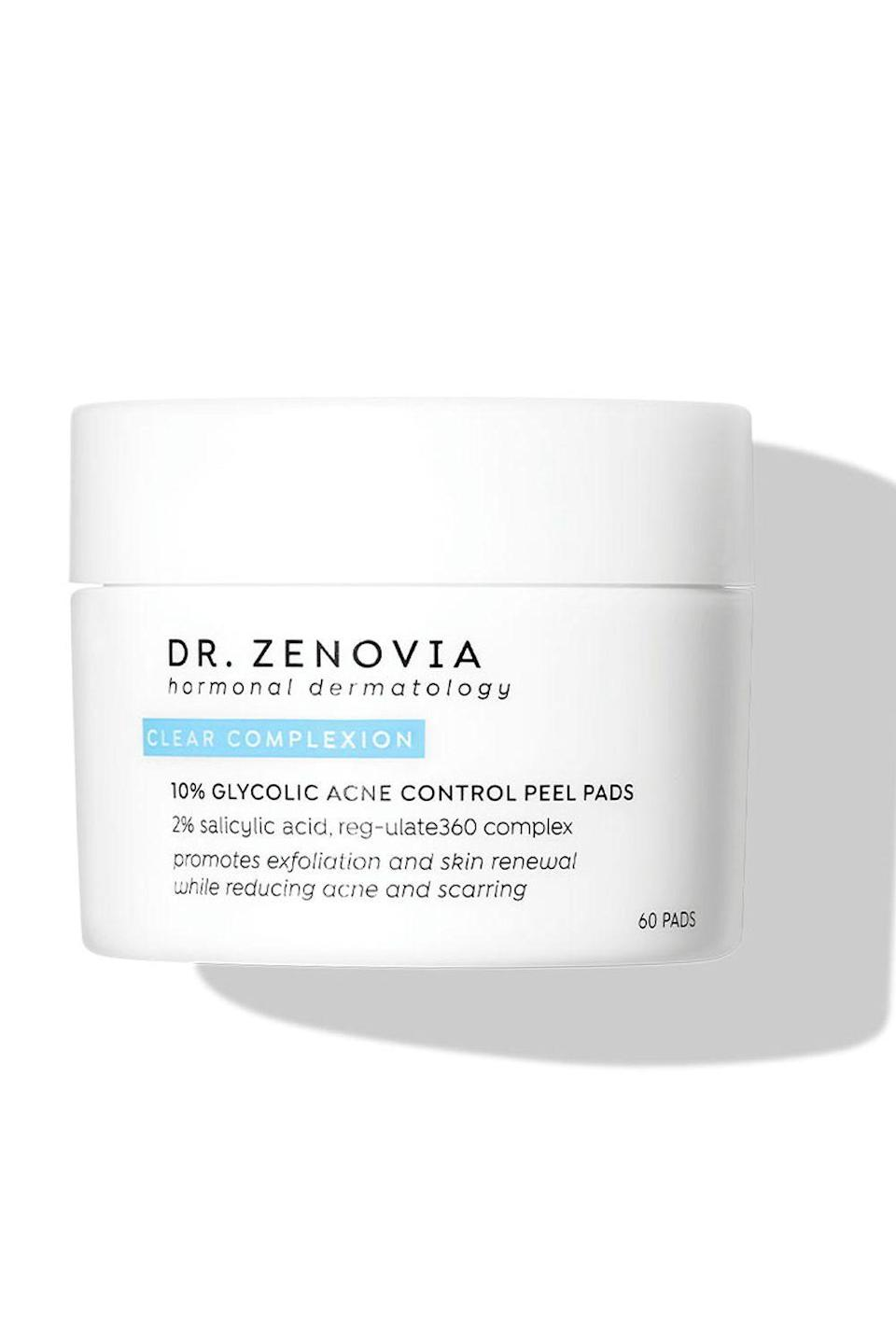 """<p><strong>Dr. Zenovia Skincare</strong></p><p>sephora.com</p><p><strong>$42.00</strong></p><p><a href=""""https://go.redirectingat.com?id=74968X1596630&url=https%3A%2F%2Fwww.sephora.com%2Fproduct%2Fdr-zenovia-skin-care-10-glycolic-acne-control-peel-pads-P464240&sref=https%3A%2F%2Fwww.cosmopolitan.com%2Fstyle-beauty%2Fbeauty%2Fg30554130%2Fbest-at-home-face-peel%2F"""" rel=""""nofollow noopener"""" target=""""_blank"""" data-ylk=""""slk:Shop Now"""" class=""""link rapid-noclick-resp"""">Shop Now</a></p><p>Zap <a href=""""https://www.cosmopolitan.com/style-beauty/beauty/g29962770/best-blackhead-face-masks/"""" rel=""""nofollow noopener"""" target=""""_blank"""" data-ylk=""""slk:blackheads"""" class=""""link rapid-noclick-resp"""">blackheads</a>, whiteheads, cysts, and the annoying dark marks they leave behind with this face peel for acne-prone skin. Each pre-soaked pad uses a blend of glycolic acid, salicylic acid, and a skin-balancing complex to <strong>dissolve the oil and dead skin cells that lead to clogged pores and </strong>help fade post-inflammatory hyperpigmentation.</p>"""