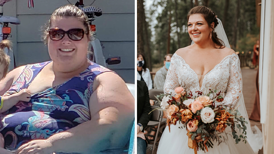 Darci before and after her weightloss at her wedding
