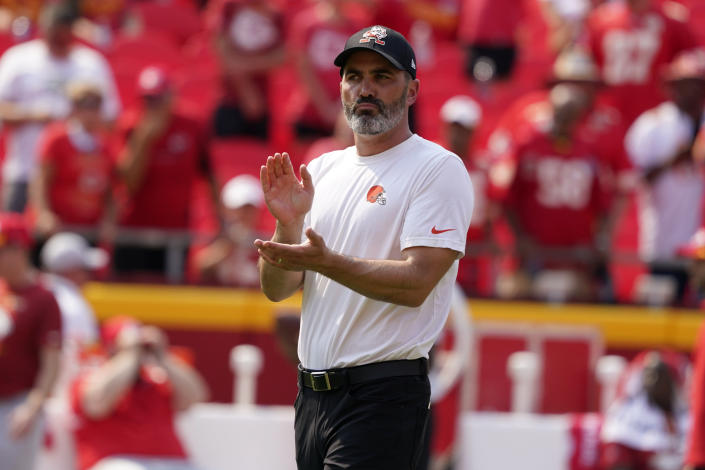 Cleveland Browns head coach Kevin Stefanski is seen before the start of an NFL football game against the Kansas City Chiefs Sunday, Sept. 12, 2021, in Kansas City, Mo. (AP Photo/Ed Zurga)