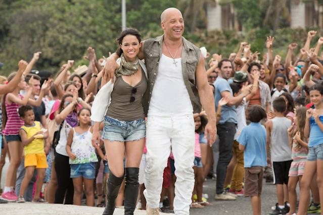 Michelle Rodriguez and Vin Diesel in <i>Fast & Furious 8</i>. (Universal Pictures)