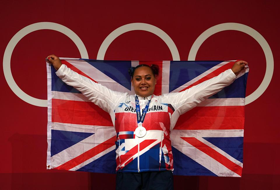 Great Britain's Emily Campbell with her Olympic silver medal in the women's weightlifting (PA) (PA Wire)