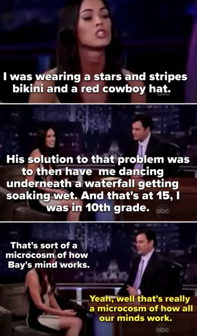 Megan Fox talking about Michael Bay sexualizing her as a teen and Jimmy Kimmel joking about it