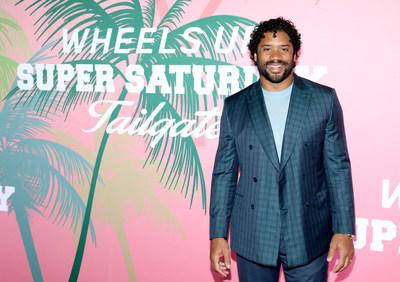 Russell Wilson at Wheels Up members-only Super Saturday Tailgate event on February 1, 2020 in Wynwood, Miami. The seventh-annual event featured a chalk talk hosted by prominent figures in sports and entertainment and interactive partnership activations. (Getty Images for Wheels Up)