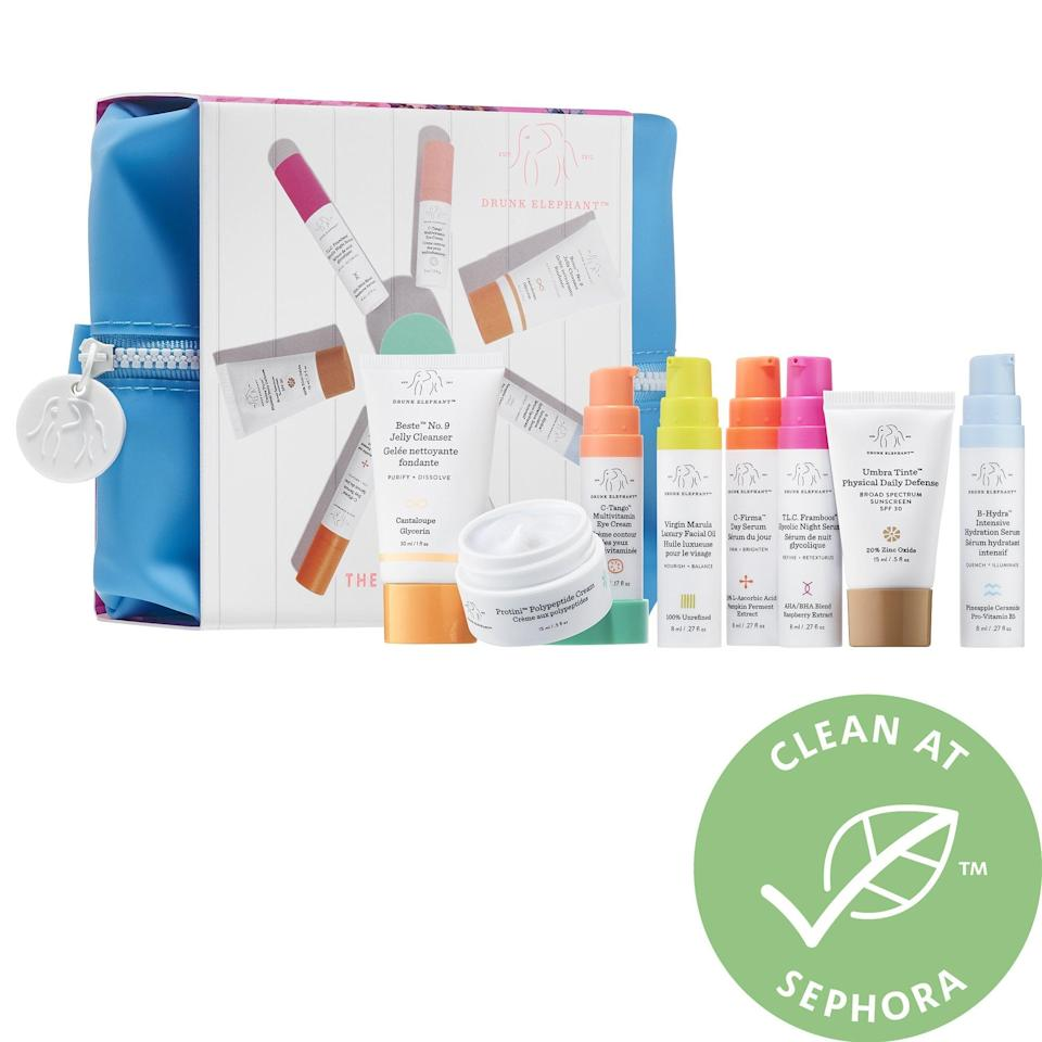 <p>If you're just not sure where to start at all, then consider investing in this <span>Drunk Elephant The Littles Set</span> ($90) to try the products. Not only is it a great chance to trial them, but the small sizes are also easy to take on planes.</p>