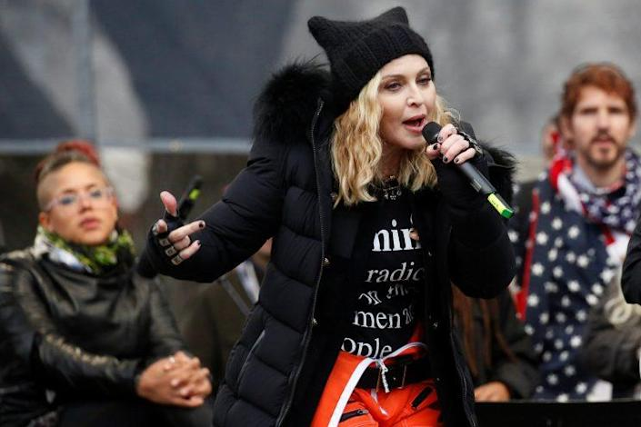 Madonna at the Women's March in Washington, D.C., on Saturday.