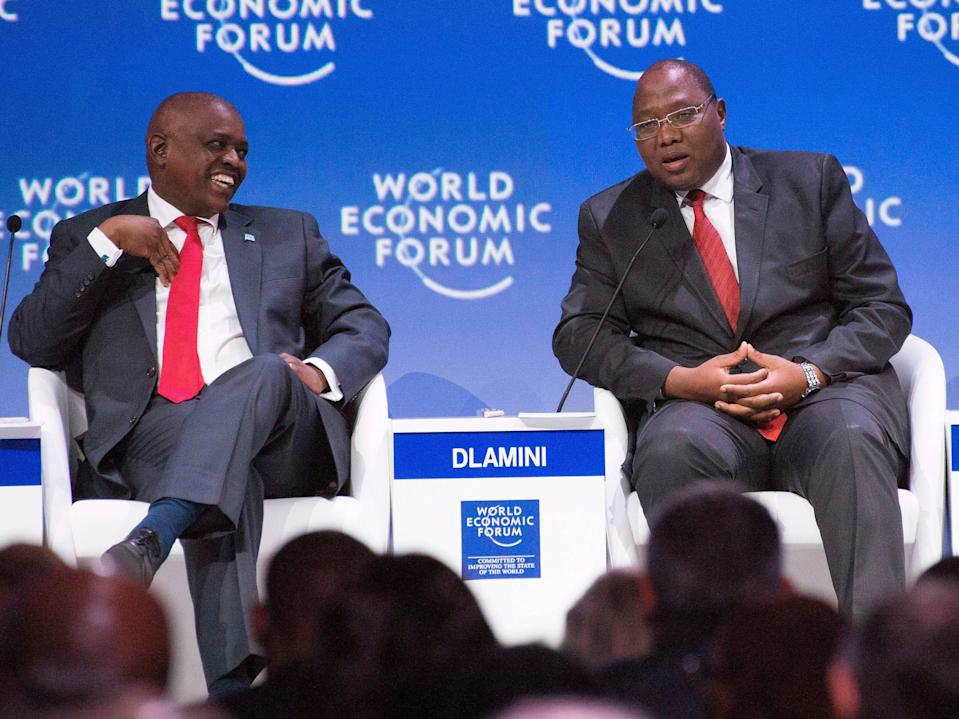 <p>File image: Mandulo Ambrose Dlamini, Prime Minister of Eswatini (right) speaks to Mokgweetsi Eric Keabetswe Masisi (Left), President of Botswana, at a plenary session of African Leaders at the World Economic Forum (WEF) Africa in 2019</p> (AFP via Getty Images)