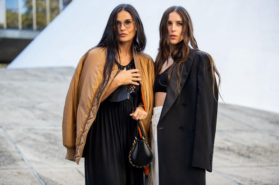 Twins? Demi Moore and her daughter outside Stella McCartney during Paris Fashion Week. (Getty Images)
