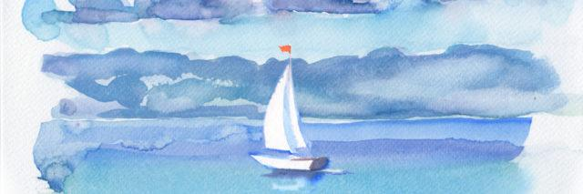 Painting of a sailboat on the water.