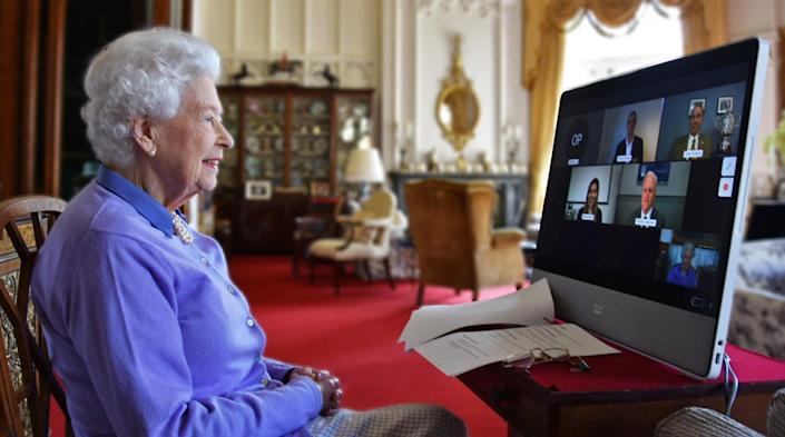 Queen Elizabeth II speaks to the Royal Life Saving Society  via video call from Windsor Palace in a picture released May 10, 2021 by Buckingham Palace.