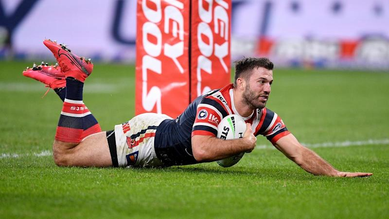 NRL BULLDOGS ROOSTERS Tedesco try