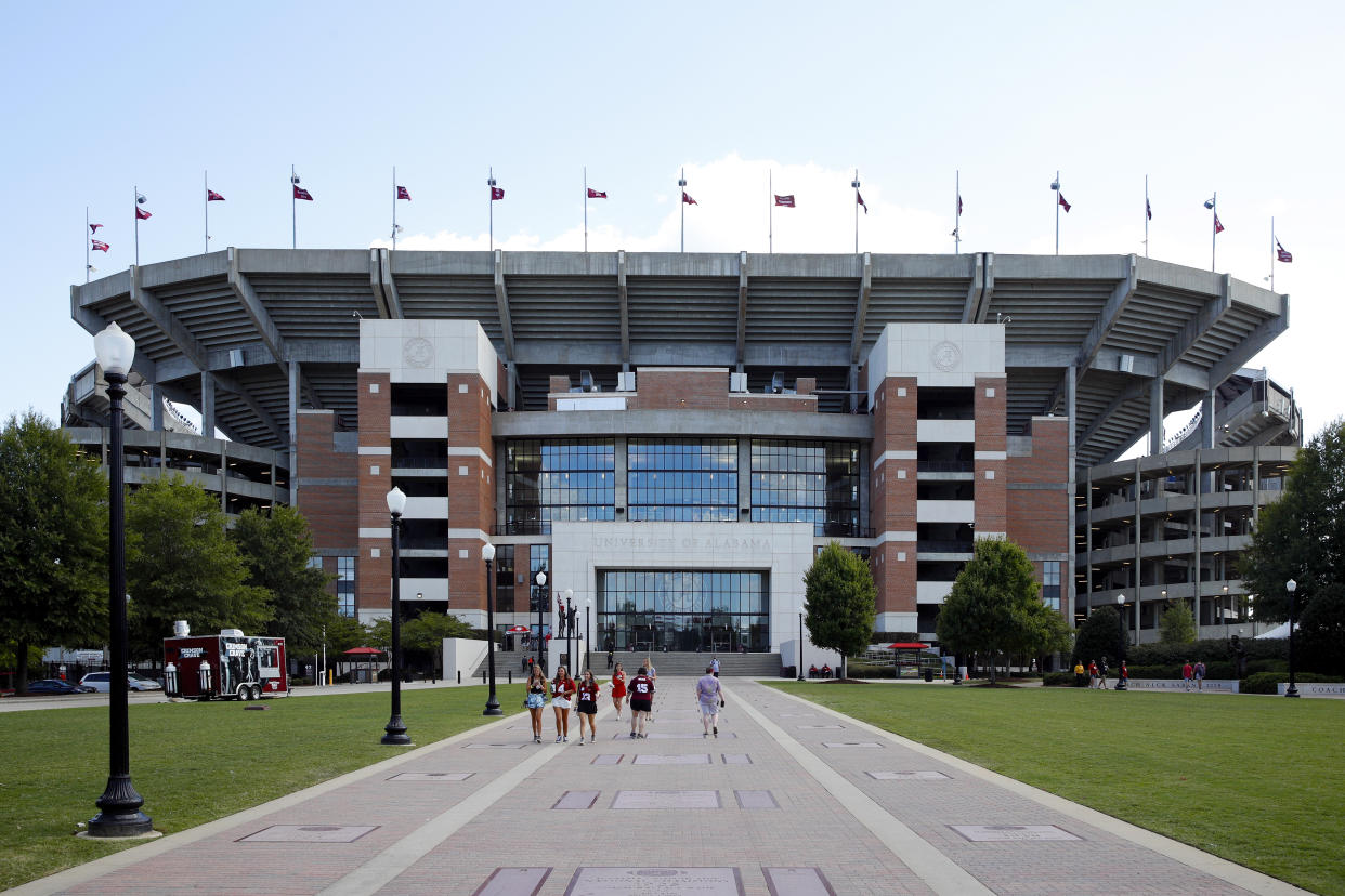 TUSCALOOSA, AL - SEPTEMBER 21: A general view of the exterior of the stadium following a game between the Alabama Crimson Tide and the Southern Mississippi Golden Eagles at Bryant-Denny Stadium on September 21, 2019 in Tuscaloosa, Alabama. Alabama defeated Southern Miss 49-7. (Photo by Joe Robbins/Getty Images)