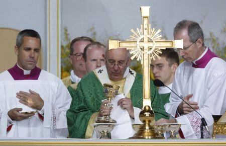 Pope Francis celebrates his final mass of his visit to the United States at the Festival of Families on Benjamin Franklin Parkway in Philadelphia