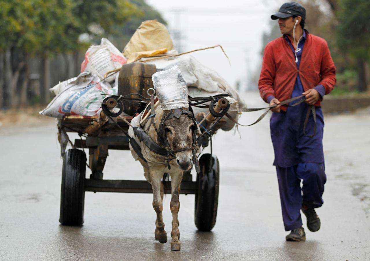 A man guides his donkey and cart down a street as the rain falls in Islamabad, Pakistan February 24,  2018.  REUTERS/Caren Firouz