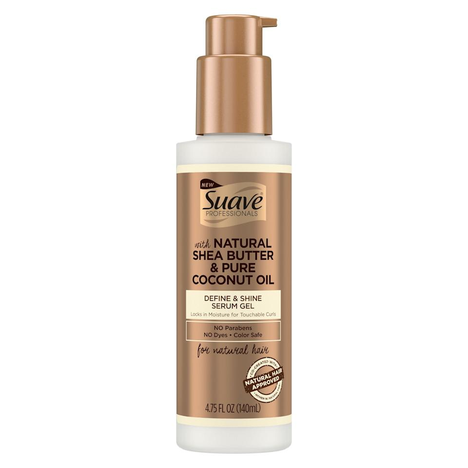 """<p><strong>Suave</strong></p><p>walmart.com</p><p><strong>$4.99</strong></p><p><a href=""""https://go.redirectingat.com?id=74968X1596630&url=https%3A%2F%2Fwww.walmart.com%2Fip%2F111677724&sref=https%3A%2F%2Fwww.goodhousekeeping.com%2Fbeauty-products%2Fg33809765%2Fbest-gel-for-curly-hair%2F"""" rel=""""nofollow noopener"""" target=""""_blank"""" data-ylk=""""slk:Shop Now"""" class=""""link rapid-noclick-resp"""">Shop Now</a></p><p>As a gel and serum hybrid, this GH Beauty Award winning pick doesn't just work double-duty on your curls, it's also affordable. By<strong> combining the benefits of a gel and a serum together, it works to smooth your strands while also defining and shaping your curls</strong>, all without any crunchiness. """"I applied this on my damp hair before drying, and loved how well it defined and boosted my curls — and the subtly sweet scent,"""" says one tester.</p>"""