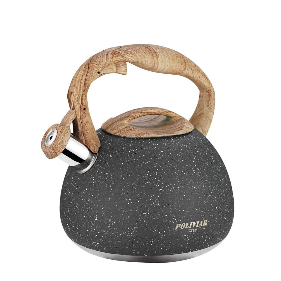 "<h3><a href=""https://amzn.to/36aWrh2"" rel=""nofollow noopener"" target=""_blank"" data-ylk=""slk:Wood & Stone Tea Kettle"" class=""link rapid-noclick-resp"">Wood & Stone Tea Kettle</a> </h3><br>Gift them a tea kettle that matches their minimalist-decor style. <br><br><strong>Poliviar</strong> Stone & Wood Finished Tea Kettle, $, available at <a href=""https://amzn.to/36aWrh2"" rel=""nofollow noopener"" target=""_blank"" data-ylk=""slk:Amazon"" class=""link rapid-noclick-resp"">Amazon</a>"
