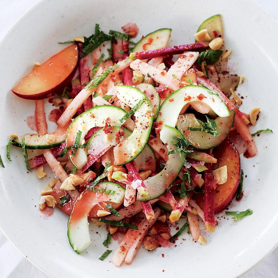 """Jicama adds serious crunch to this fresh, bright salad. Serve with <a href=""""https://www.epicurious.com/recipes/food/views/perfect-fish-tacos-51241860?mbid=synd_yahoo_rss"""" rel=""""nofollow noopener"""" target=""""_blank"""" data-ylk=""""slk:fish tacos"""" class=""""link rapid-noclick-resp"""">fish tacos</a> for a truly excellent evening. <a href=""""https://www.epicurious.com/recipes/food/views/jicama-radish-and-pickled-plum-salad-56389668?mbid=synd_yahoo_rss"""" rel=""""nofollow noopener"""" target=""""_blank"""" data-ylk=""""slk:See recipe."""" class=""""link rapid-noclick-resp"""">See recipe.</a>"""