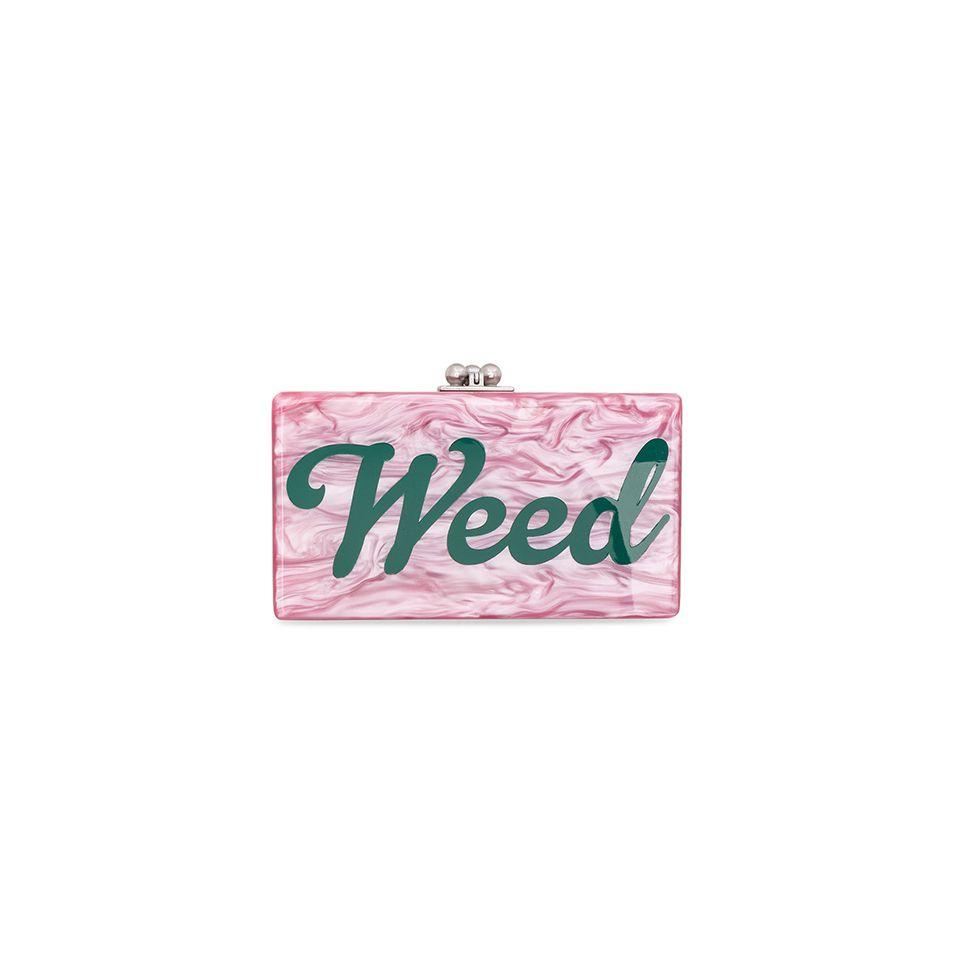 """<p><strong>Edie Parker</strong></p><p>fwrd.com</p><p><strong>$570.00</strong></p><p><a href=""""http://www.fwrd.com/product-jean-weed-clutch/EDIF-WY57/"""" target=""""_blank"""">Shop Now</a></p><p>Carrying your cannabis has never been more chic with a rosy clutch that says it all. </p>"""