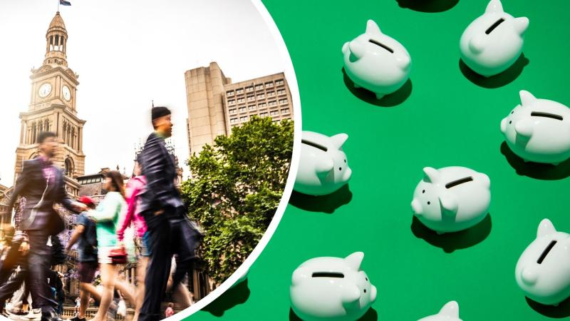 Pictured: Australian workers, piggy banks suggesting tax. Images: Getty