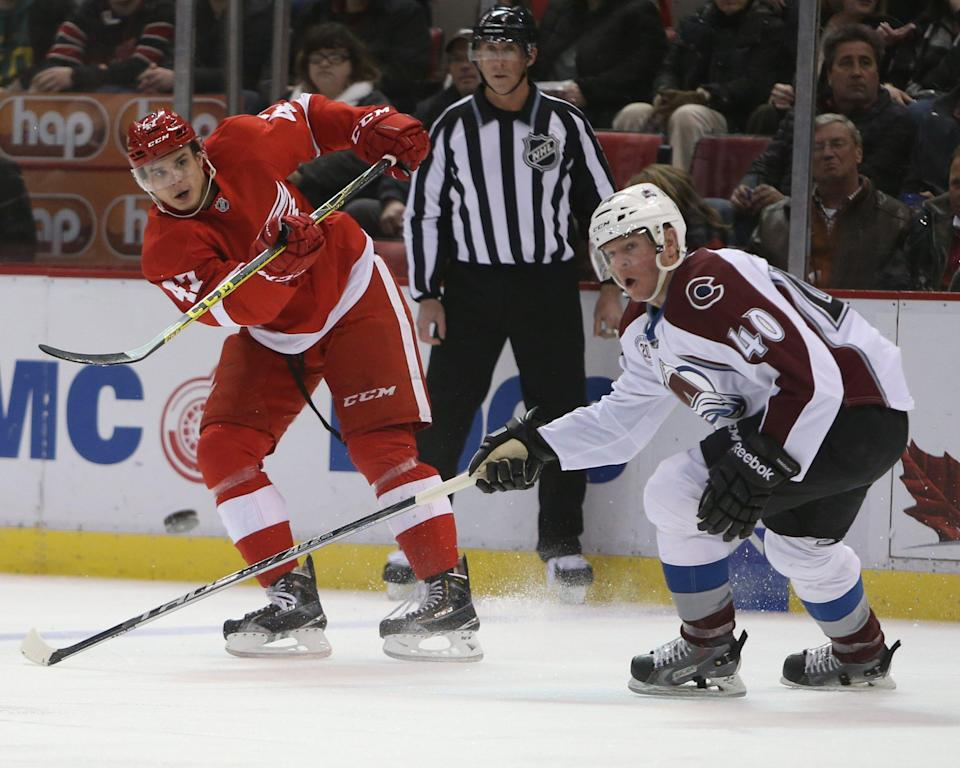 Avalanche forward Alex Tanguay skates during a game on Friday, Feb. 12, 2016, at Joe Louis Arena.