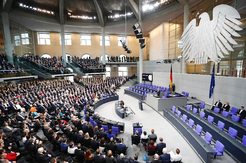 The 1,260-strong special Federal Assembly, made up of national lawmakers and electors sent from Germany's 16 states, during the presidential election at the Bundesversammlung federal assembly Bundestag in Berlin on February 12, 2017