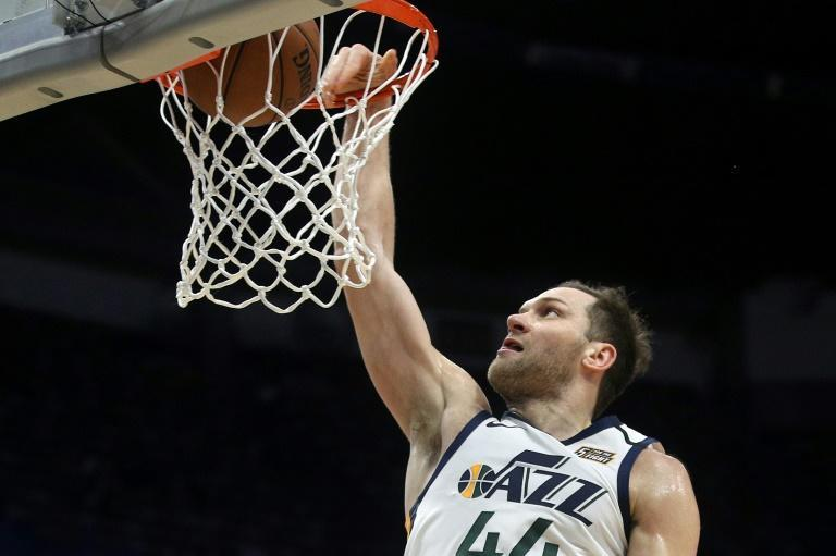 Croatia's Bojan Bogdanovic of the Utah Jazz scored a season-high 32 points with seven three -pointers in a blowout win over Luka Doncic's Dallas Mavericks