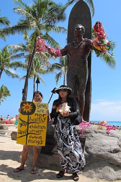 FILE - In this Saturday, May 23, 2015, file photo, Karen Murray, left, and Diane Marshall, both teachers from Honolulu, protest against Monsanto at a Waikiki Beach rally in Honolulu. Hawaii residents concerned about pesticides are planning a push to strengthen regulation over chemicals they fear harm their health. (AP Photo/Cathy Bussewitz, File)