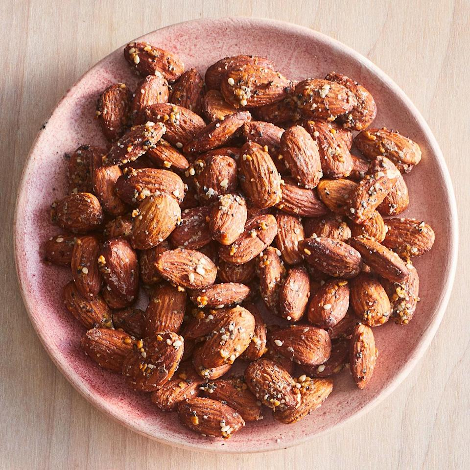 <p>Grinding up the everything bagel seasoning in a spice grinder will help it adhere to the almonds.</p>